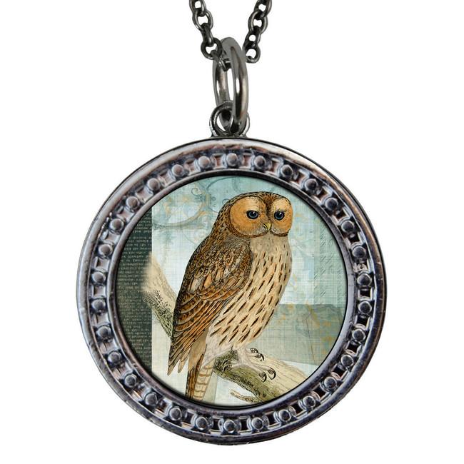 "Owl Circular Reversible Vintage ""Leaf"" Pendant"