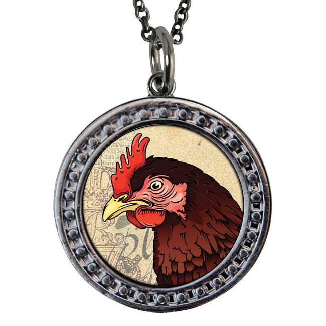 "Rooster Circular Reversible Vintage ""Leaf"" Pendant"