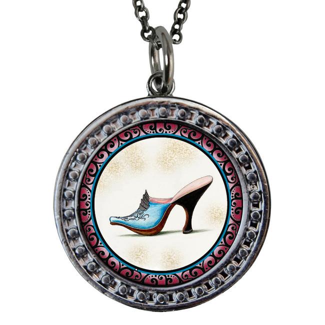 "Shoe Circular Reversible Vintage ""Leaf"" Pendant"