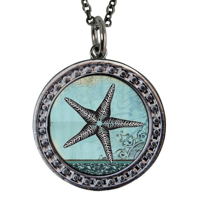 "Starfish Circular Reversible Vintage ""Leaf"" Pendant"
