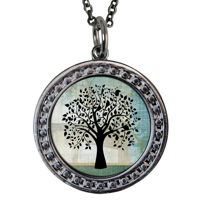 "Tree of Life Circular Reversible Vintage ""Leaf"" Pendant"
