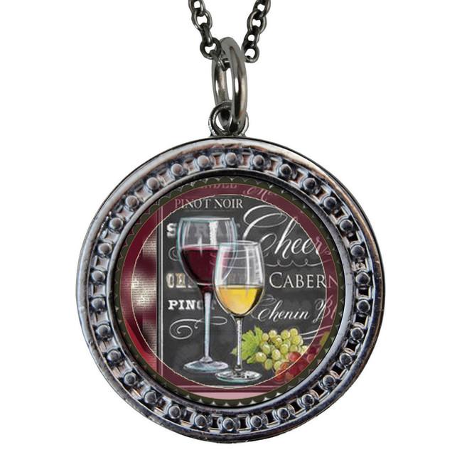 "Wine Circular Reversible Vintage ""Leaf"" Pendant"