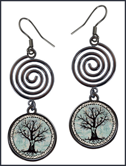 Tree of Life Circle Spiral Earrings