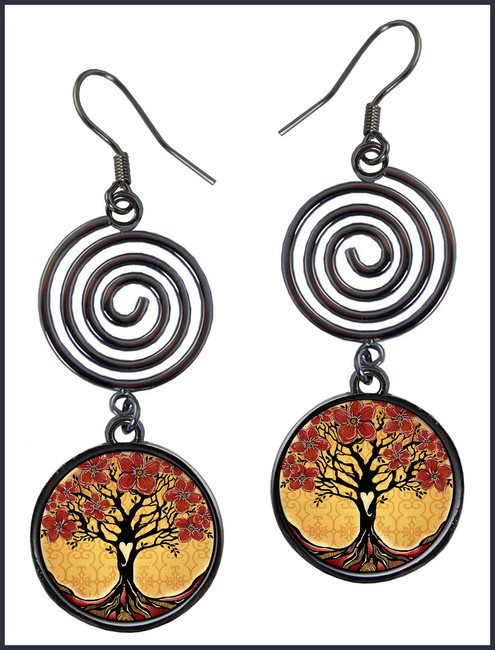 Tree of Life Purple Yellow Spiral Earrings