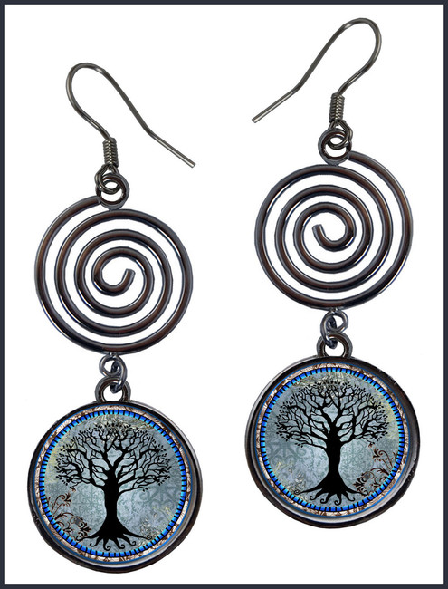 Tree of Life Dark Blue Circle Spiral Earrings
