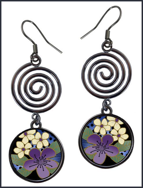 Purple Flower Circle Spiral Earrings