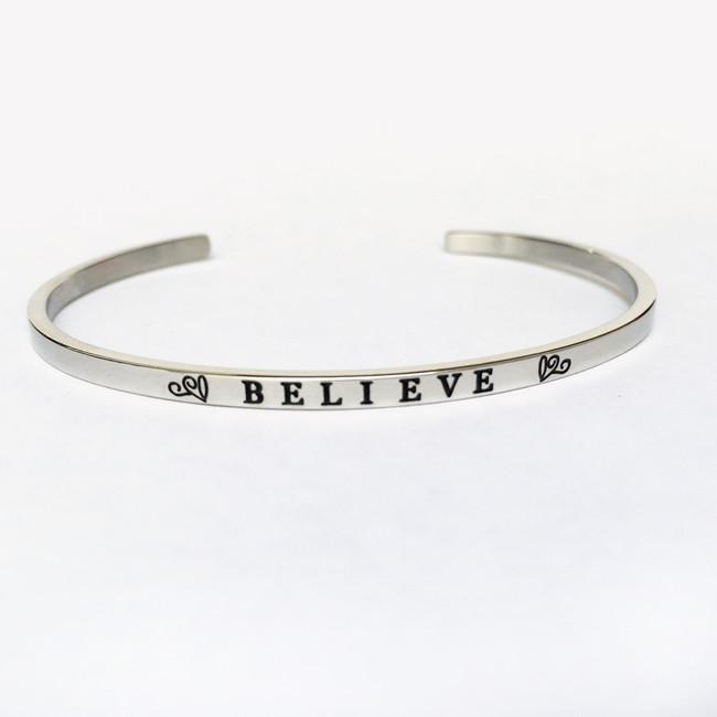 """""""BELIEVE"""" Stainless Steel Cuff Bracelet"""