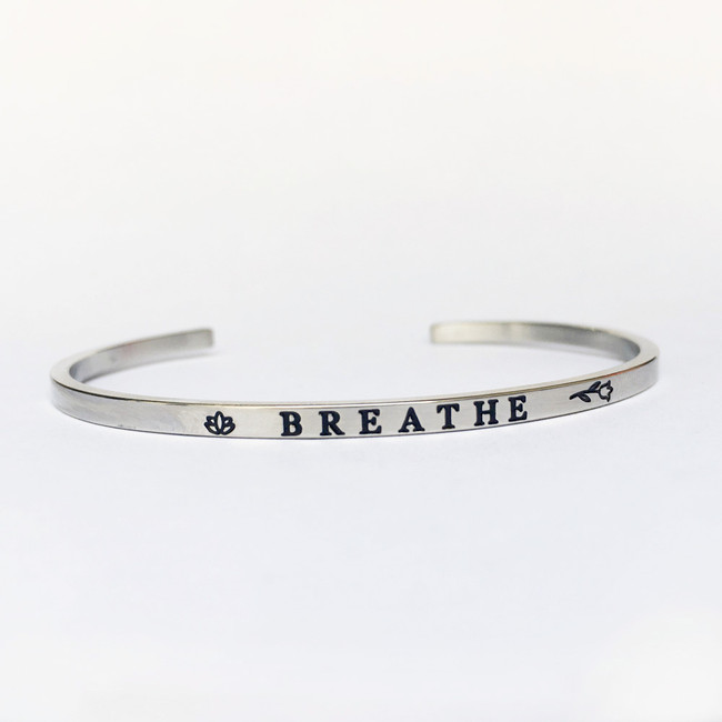 """BREATHE"" Stainless Steel Cuff Bracelet"