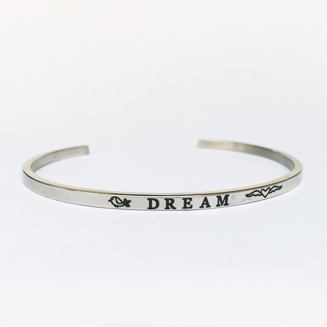 """DREAM"" Stainless Steel Cuff Bracelet"