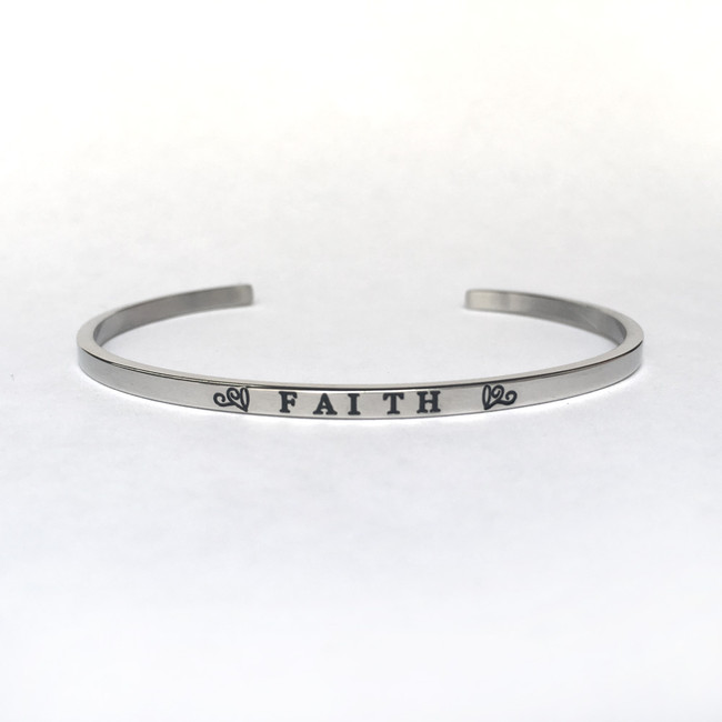 """FAITH"" Stainless Steel Cuff Bracelet"