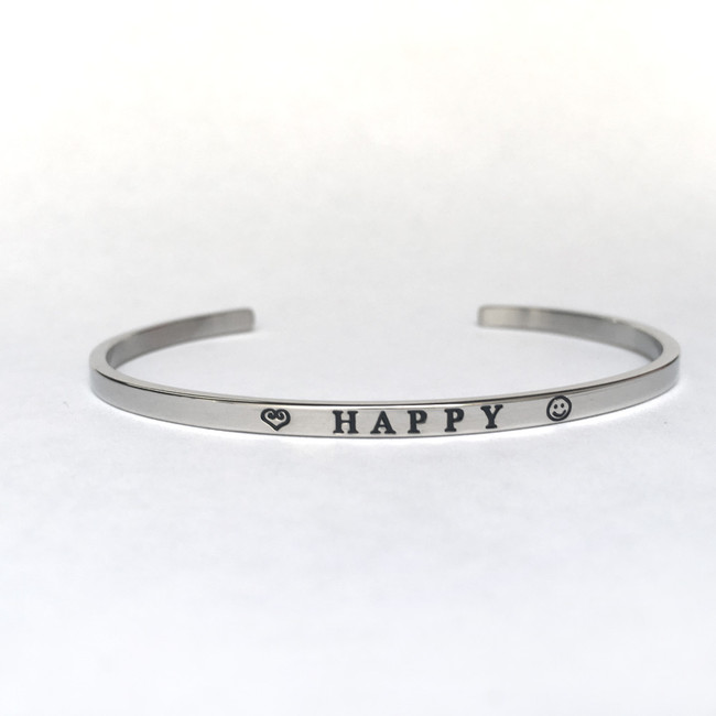 """HAPPY"" Stainless Steel Cuff Bracelet"