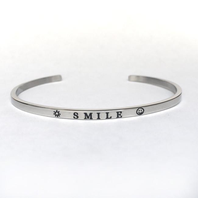 """SMILE"" Stainless Steel Cuff Bracelet"