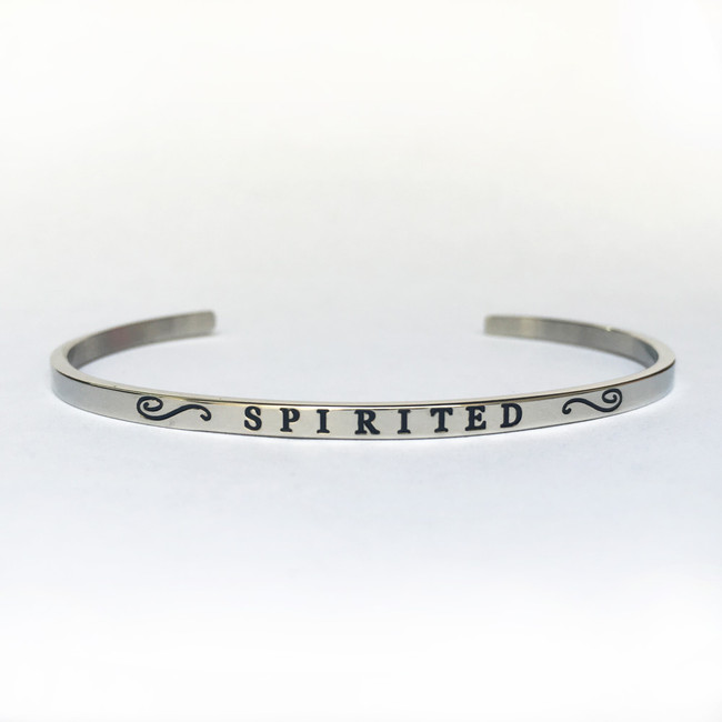 """SPIRITED"" Stainless Steel Cuff Bracelet"