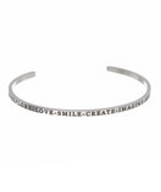 """DREAM-EXPLORE-LOVE-SMILE-CREATE-IMAGINE-HOPE-LIVE"" Stainless Steel Cuff Bracelet"