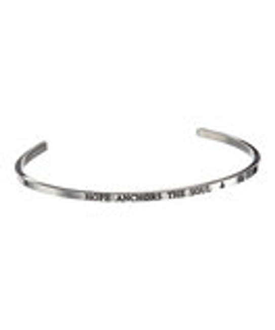 """""""HOPE ANCHORS THE SOUL"""" Stainless Steel Cuff Bracelet"""