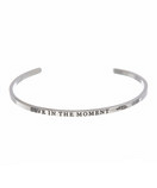 """LIVE IN THE MOMENT"" Stainless Steel Cuff Bracelet"