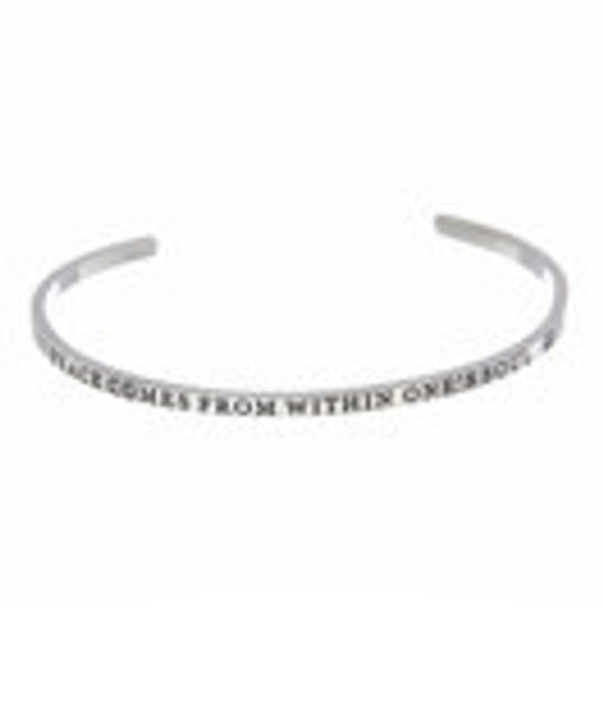 """""""PEACE COMES FROM WITHIN ONE'S SOUL"""" Stainless Steel Cuff Bracelet"""