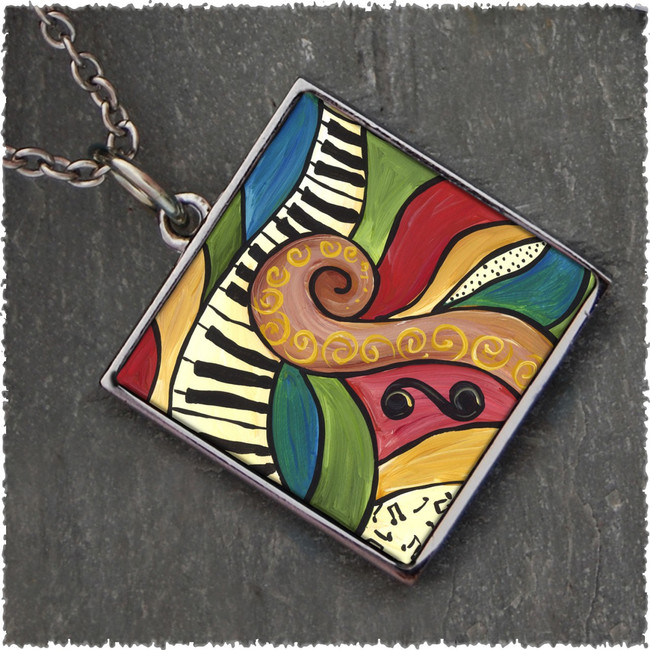Abstract Music Reversible Square Pendant