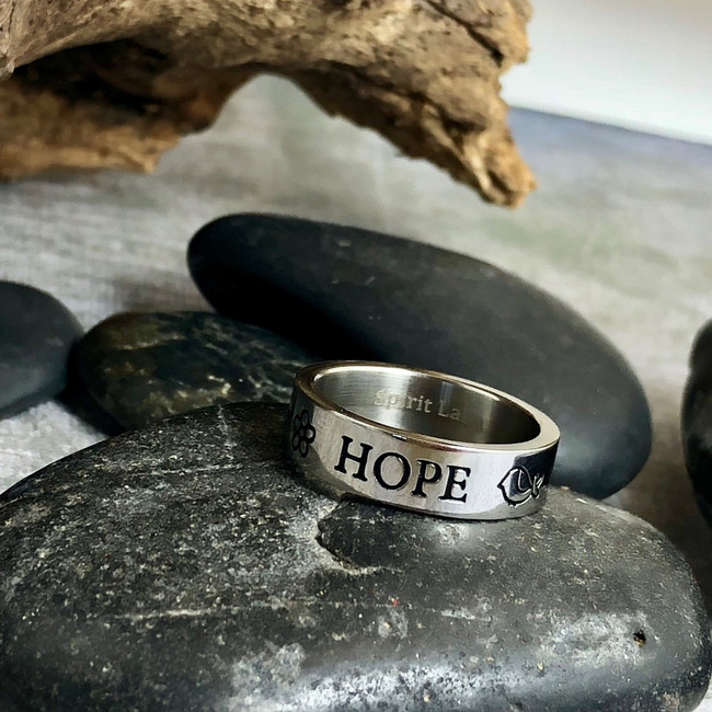 Hope Stainless Quote Ring