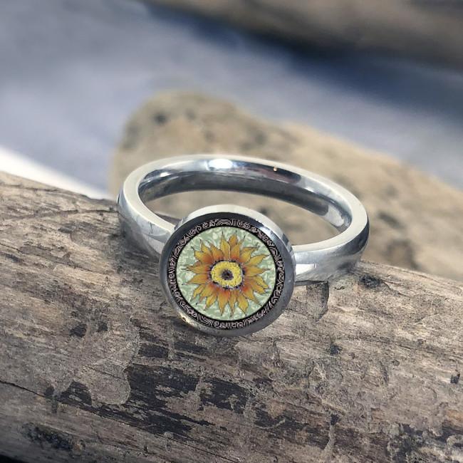 Green Sunflower Stainless Art Ring