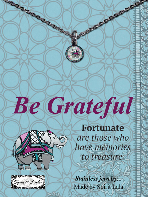 Carded Elephant Small Circle Necklace