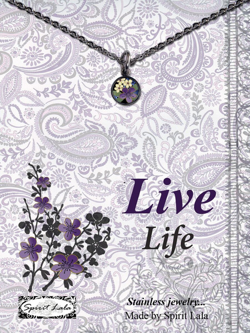Carded Purple Flower Small Circle Necklace