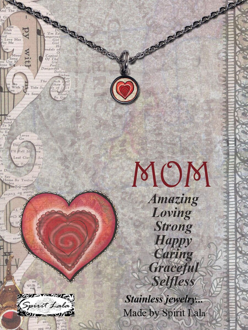 Carded Mom Heart Small Circle Necklace