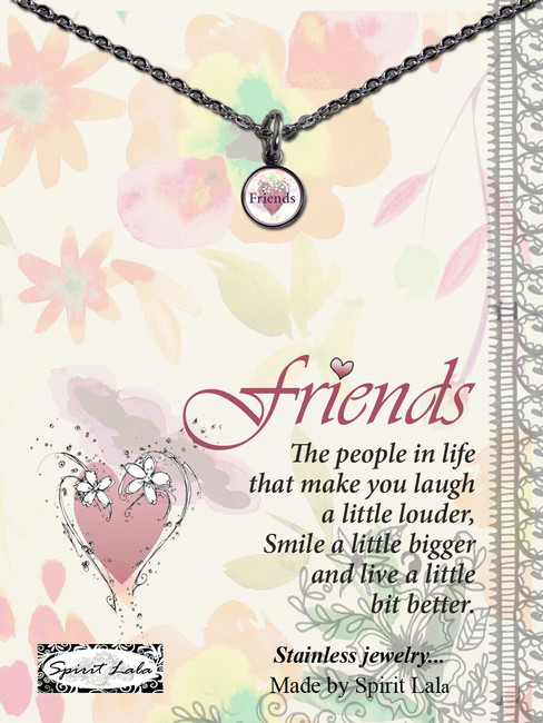 Carded Friends Heart Small Circle Necklace