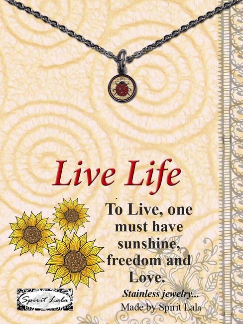 Carded Ladybug Small Circle Necklace