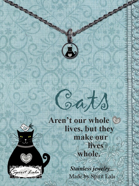 Carded Black Cat Small Circle Necklace