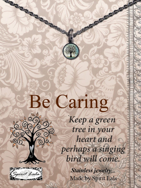 Carded Caring Tree Small Circle Necklace