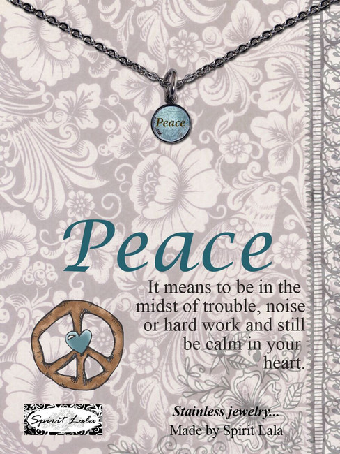 Carded Peace Small Circle Necklace
