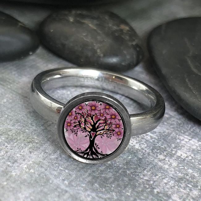 Pink Tree of Life Stainless Art Ring
