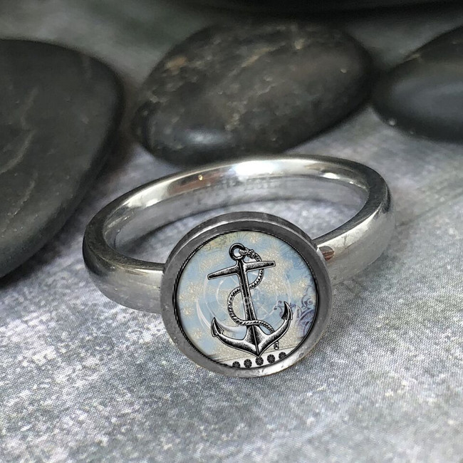 Vintage Anchor Stainless Art Ring