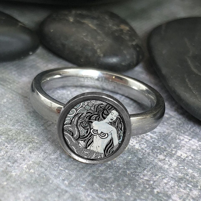 Mermaid B/W Stainless Art Ring
