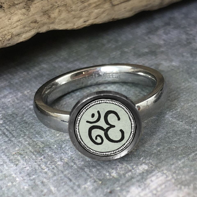 Om Sign Stainless  Art Ring