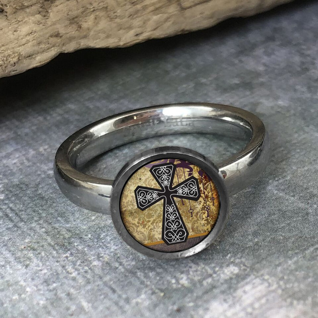 Vintage Yellow Cross Stainless Art Ring