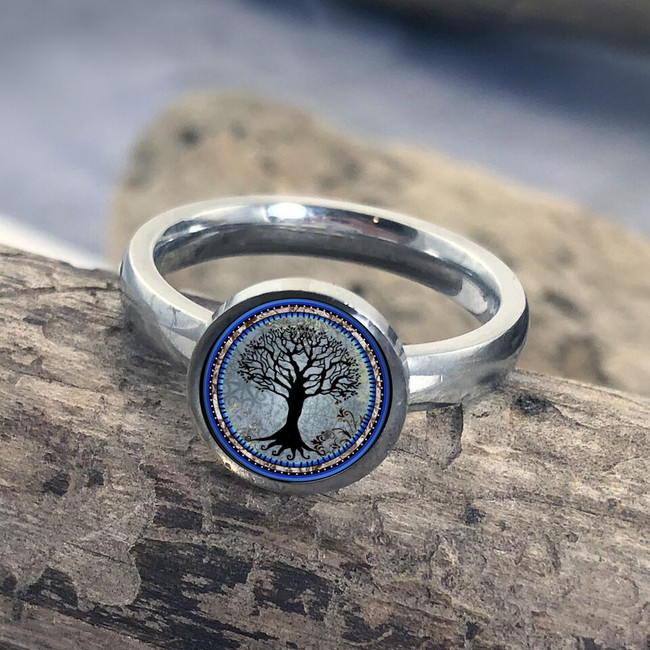 Tree Of Life Dark Blue Stainless Art Ring