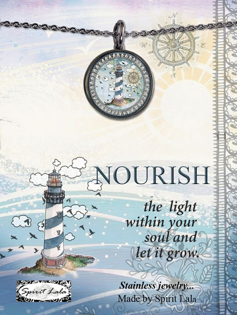 Carded Lighthouse Reversible Medium Circle Necklace