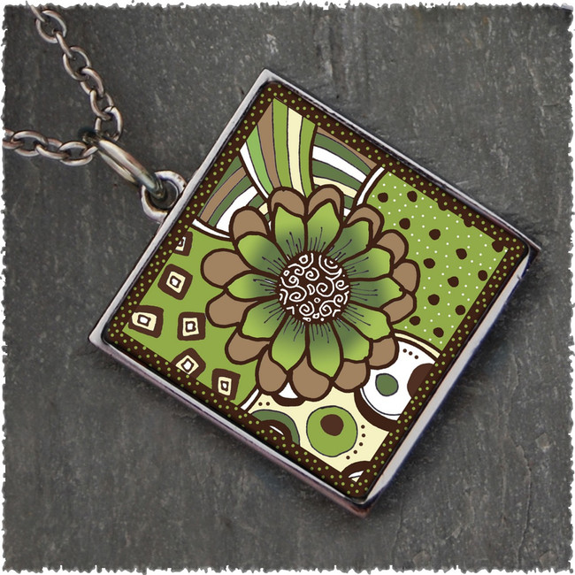 Green Brown Flower Square Reversible Pendant