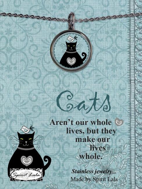 Carded Blue Cat Reversible Medium Circular Necklace