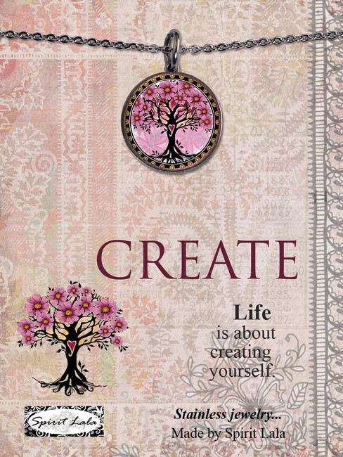 Carded Tree of Life Pink Reversible Medium Circular Necklace