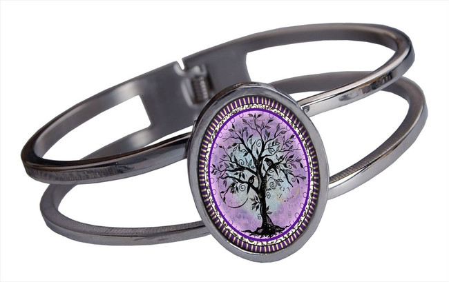 Tree of Life Purple Stainless Cuff Bracelet