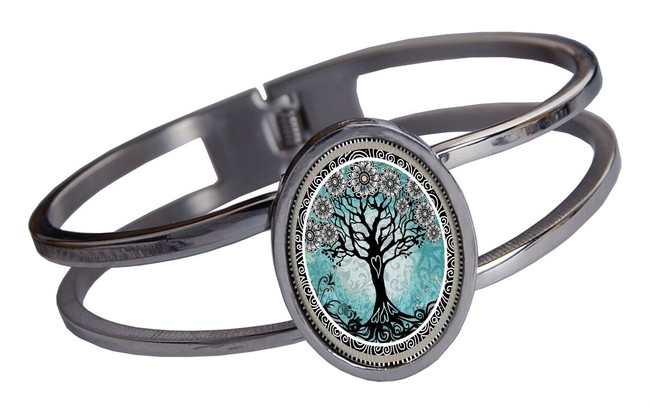 Tree of Life Teal Stainless Cuff Bracelet