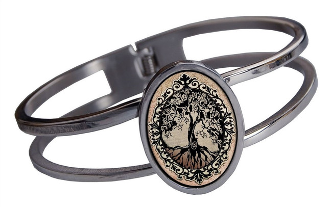 Tree of Life Brown Stainless Cuff Bracelet