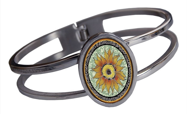 Sunflower Green Stainless Cuff Bracelet