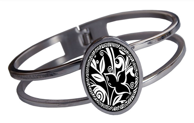 Leaf Flower Black Stainless Cuff Bracelet