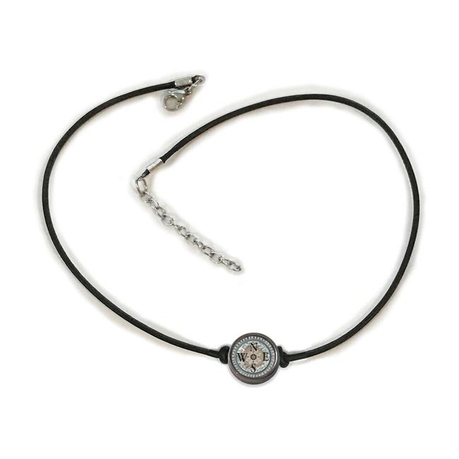 Teal Compass Choker Necklace