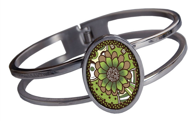 Green Flower Stainless Cuff Bracelet