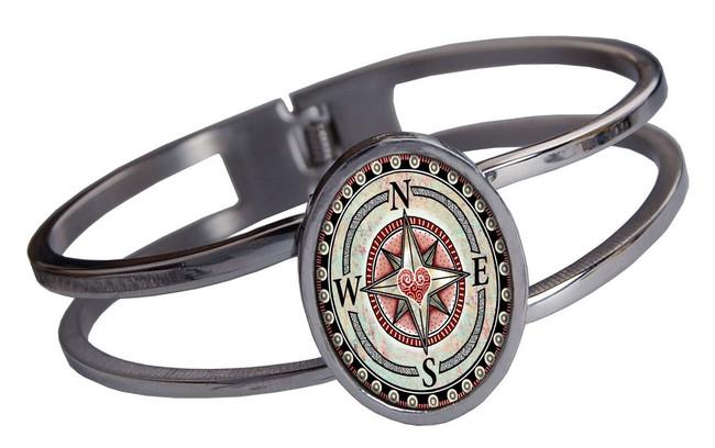 Compass Heart Stainless Cuff Bracelet